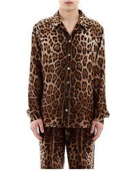 Dolce & Gabbana Leopard Pyjama Overhemd - Bruin