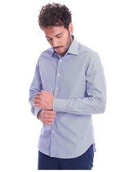 BRANCACCIO Italian Collar Striped Shirt - Blauw