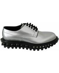 Dolce & Gabbana Derby Black Crystals Studded Shoes - Grijs