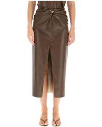 Nanushka Inci Skirt In Vegan Leather - Bruin