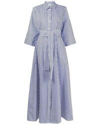 C.P. Company Liped Chemisier Dress - Blauw