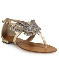 Ninalilou Butterfly Flat Thong Sandals Beige - Neutro