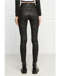 Guess Pantalon stretch taille haute effet ciré - Noir