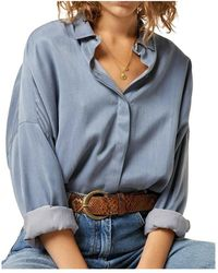 Sessun Lady D Cupro And Cotton Shirt - Blauw