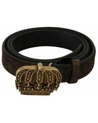 Dolce & Gabbana Crown Buckle Belt - Braun