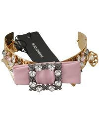 Dolce & Gabbana Collar Bow Crystal Embellished Necklace - Roze