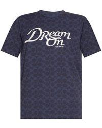 COACH T-shirt With Logo - Blauw