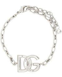 Dolce & Gabbana Logo-plaque Chain-link Bracelet - Grijs