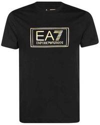 NIKKIE T-Shirt With Gold Institutional Logo - Schwarz