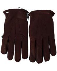 Dolce & Gabbana Wrist Length Mitten Leather Gloves - Marron