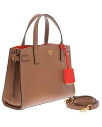 Tory Burch Walker Small Satchel - Grained Leather Bag With Padlock Holder - Bruin