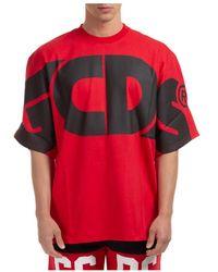 Gcds T-shirt Maglia Maniche Corte Girocollo Uomo Macro Logo - Rood
