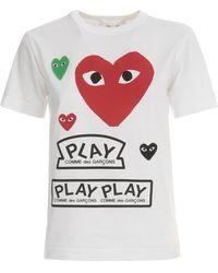 COMME DES GARÇONS PLAY - T-shirt Groot Hart En Play Logo - Lyst
