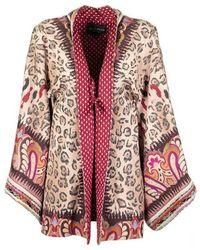 Etro Kimono Jacket With Paisley Print With Animal Design - Rood