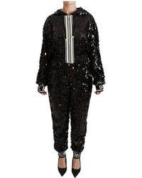 Dolce & Gabbana Lovertjes Hooded Sweater Jurk Jumpsuit - Zwart