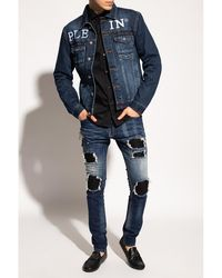 Philipp Plein Distressed jeans Azul