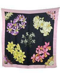 Gucci Tweedehands Vintage Orchids Bloemen Bloemen Zijden Sjaal - Roze