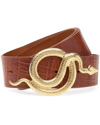 Notes Du Nord Mil Leather Riem Croco - Bruin
