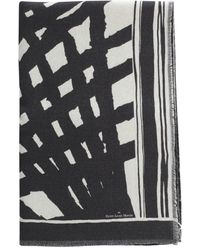 Pierre Louis Mascia Wash Printed Scarf With Fringes - Noir