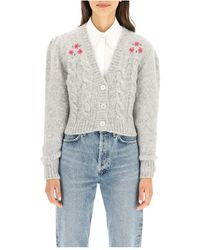 Alessandra Rich Flower Cropped Cardigan - Grijs