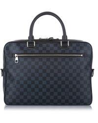 Louis Vuitton Damier Graphite Porte Documents Business MM Canvas - Bleu