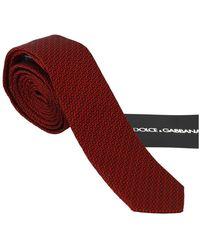 Dolce & Gabbana Patterned Classic Slim Necktie Tie - Rood