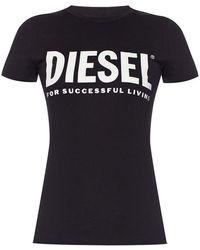 DIESEL Logo-printed T-shirt - Zwart