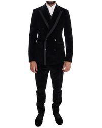 Dolce & Gabbana Velvet Slim Double Breasted Suit - Schwarz