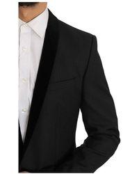 Dolce & Gabbana Tuxedo Gold Slim Fit Smoking Suit - Noir