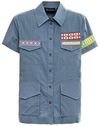 Mr & Mrs Italy Shirt With Embroidery - Blauw