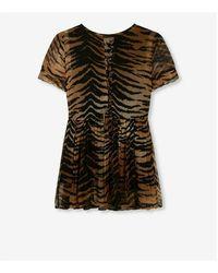 Alix The Label Tiger chiffon dress Marrón