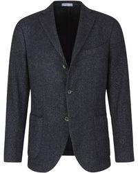 Boglioli Straight jacket with three buttons - Bleu