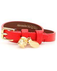 Alexander McQueen Double Wrap Skull Bracelet - Rood