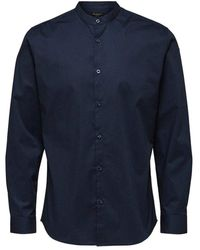 SELECTED Hemd Mandarinkragen - Blauw