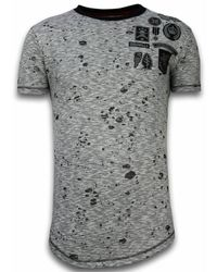 Local Fanatic Longfit Asymmetric Embroidery - T-shirt Patches - Grijs
