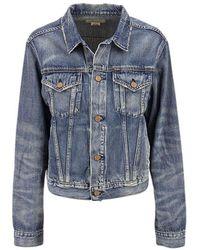 Ralph Lauren Trucker jacket in denim with bear print - Bleu