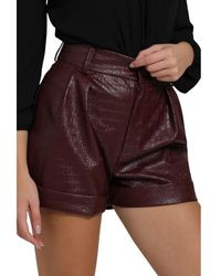 ViCOLO High Waisted Short In Leather - Rood