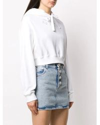 Alessandra Rich Cropped Hoodie With Embroidered Logo Blanco
