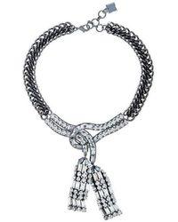 BCBGMAXAZRIA Chain Stone Necklace - Gris