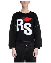 Raf Simons Oversized Cropped Rs Sweater - Zwart