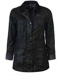 Barbour Black Jacket Beadnell Wax - Blauw