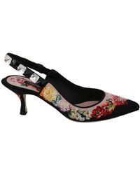 Dolce & Gabbana Floral Slingbacks Crystal Heel Shoes - Zwart