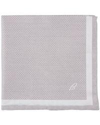 Brioni Silk pochette with a diamond pattern - Gris