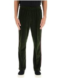 Needles Velvet trackpants with striped bands - Grün