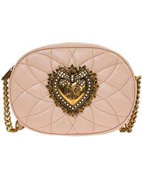 Dolce & Gabbana Women's Leather Cross-body Messenger Shoulder Tas Camera Tas Devotion - Naturel
