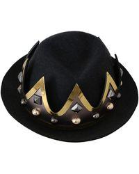 Dolce & Gabbana Crown Embellished Trilby Men Capello Hat - Noir