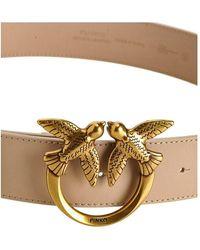 Pinko Love Birds Leather Belt Beige - Neutro