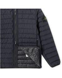 Stone Island O-Cotton/R-Nylon Tela Mid Length Hooded Jacket Azul
