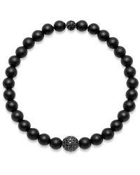 Nialaya Men's Wristband With Matte Onyx And Black Cz Diamond - Zwart