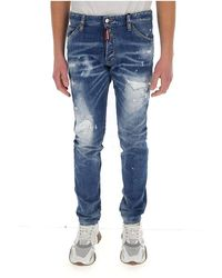DSquared² Distressed-effect slim jeans Azul